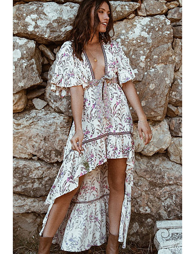 cheap Summer Dresses & Boho-Women's A Line Dress - Floral Red S M L XL