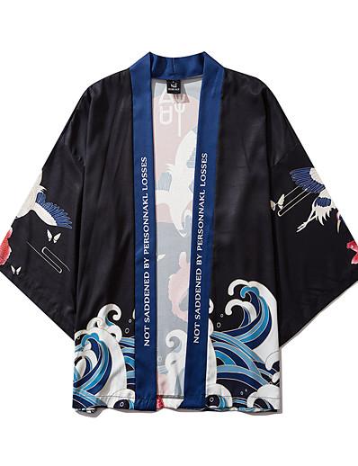 cheap Kimono Cardigans-Men's Daily Kimonos Shirt - Animal Print V Neck Black