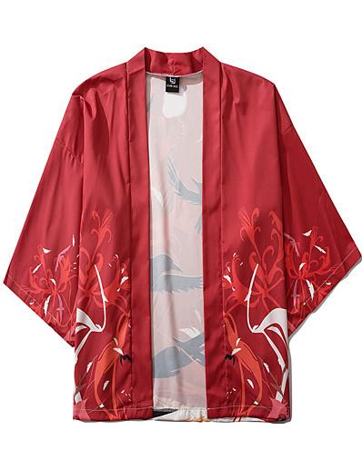 cheap Kimono Cardigans-Men's Daily Kimonos Shirt - Animal Print V Neck Red