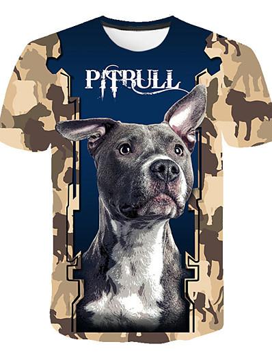 cheap Men's 3D-Men's T shirt Shirt Geometric Plus Size Print Short Sleeve Daily Tops Basic Streetwear Round Neck Blue