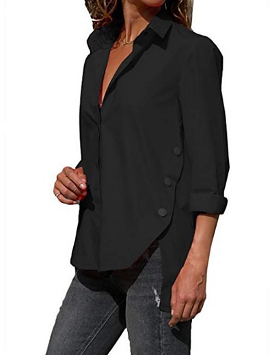 cheap TOPS-Women's Daily Shirt - Solid Colored Shirt Collar Black
