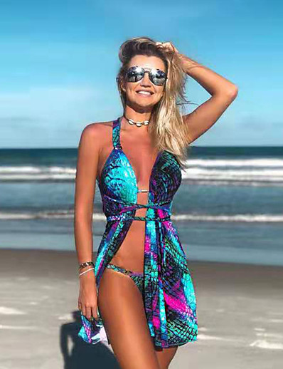 cheap Tankinis-Women's Halter Blue Bikini Cover Up Set Swimwear - Gradient Mermaid Scales S M L Blue