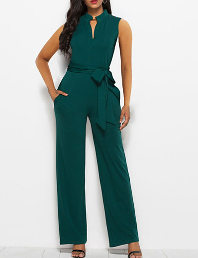 cheap Jumpsuits & Rompers-Women's Basic Black Red Green Slim Jumpsuit Solid Colored