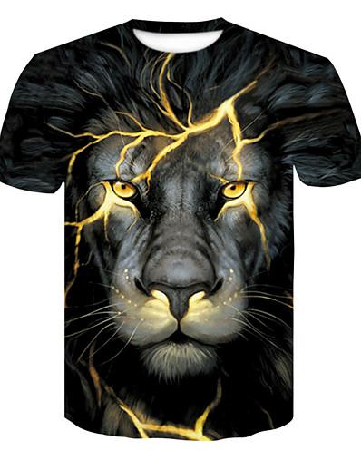 cheap TOPS-Women's Daily Basic T-shirt - 3D / Animal Lion Black