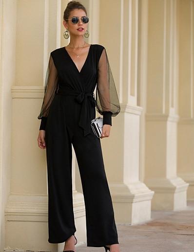 cheap CLOTHING-Women's Basic Black Jumpsuit Onesie, Solid Colored S M L