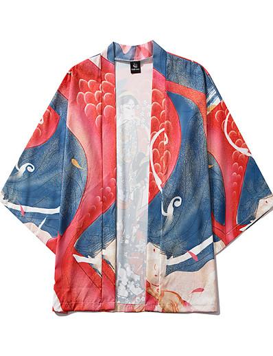 cheap Kimono Cardigans-Men's Daily Kimonos Shirt - Portrait Print V Neck Blue