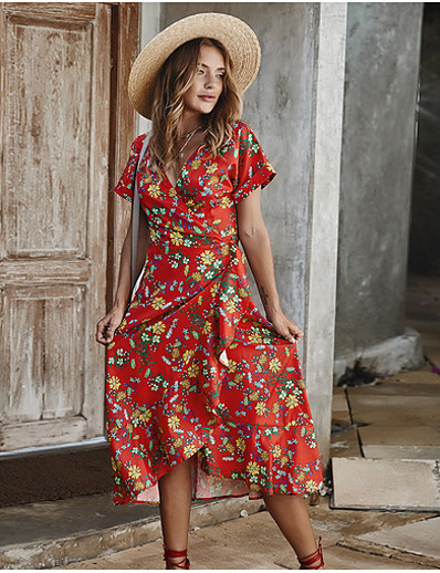 cheap Summer Dresses & Boho-Women's Elegant Slim Swing Dress - Geometric V Neck Yellow Red Light Blue S M L XL