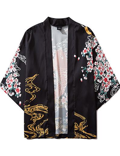 cheap Kimono Cardigans-Men's Daily Kimonos Shirt - Floral / Animal Print V Neck Black