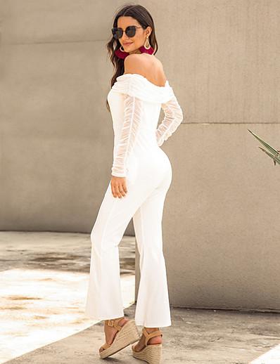 cheap Jumpsuits & Rompers-Women's Basic Off Shoulder White Black Royal Blue Slim Jumpsuit Solid Colored