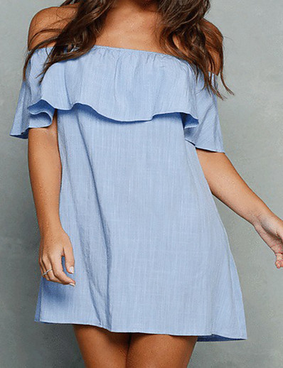 cheap Mini Dresses-Women's / Ladies Light Blue Dress Trendy Date Street Swing Solid Colored Flutter Sleeve Off Shoulder Ruffle S M Loose / Cotton