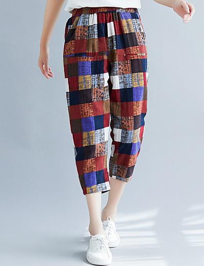 cheap CLOTHING-Women's Basic Chinos Pants - Plaid Khaki XL XXL