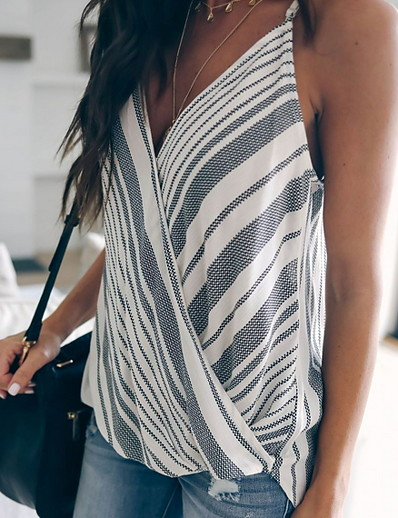 cheap Tank Tops-Women's Tank Top Striped Tops V Neck Daily Orange Gray Light Blue US4 / UK8 / EU36 US6 / UK10 / EU38 US8 / UK12 / EU40 US10 / UK14 / EU42 US12 / UK16 / EU44 US14 / UK18 / EU46