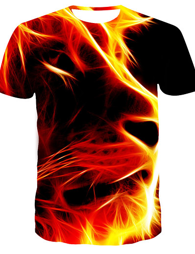 cheap Men's 3D-Men's T shirt Shirt Graphic Geometric Plus Size Print Short Sleeve Daily Tops Basic Streetwear Round Neck Red