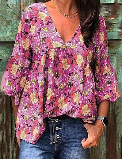 cheap TOPS-Women's Daily T-shirt - Geometric Purple