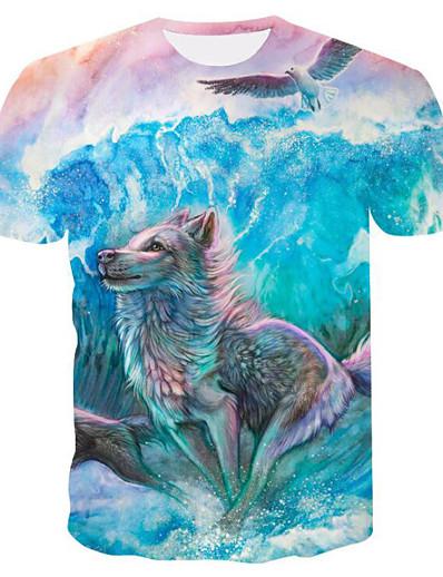cheap TOPS-Women's Daily Basic T-shirt - 3D / Animal Print Blue