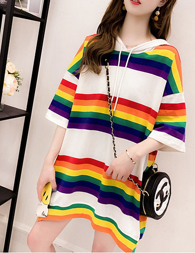 cheap TOPS-Women's Daily T-shirt - Striped White