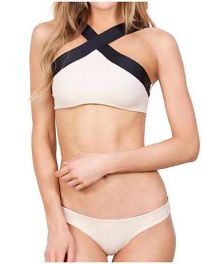cheap SWIMWEAR-Women's Halter Neck Halter Cheeky Bikini Tankini Swimwear Swimsuit - Color Block S M L White Black Rainbow