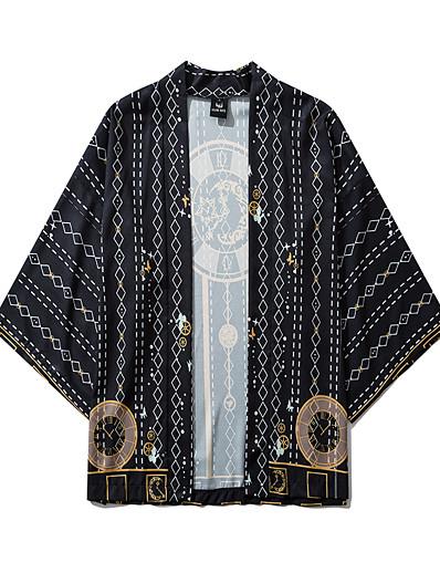 cheap Kimono Cardigans-Men's Daily Kimonos Shirt - Geometric Print V Neck Black