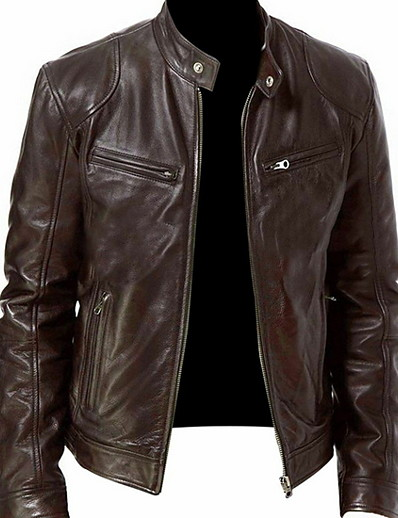 abordables Vêtements d'extérieur pour hommes-col montant faux veste régulière couleur unie quotidienne à manches longues noir marron