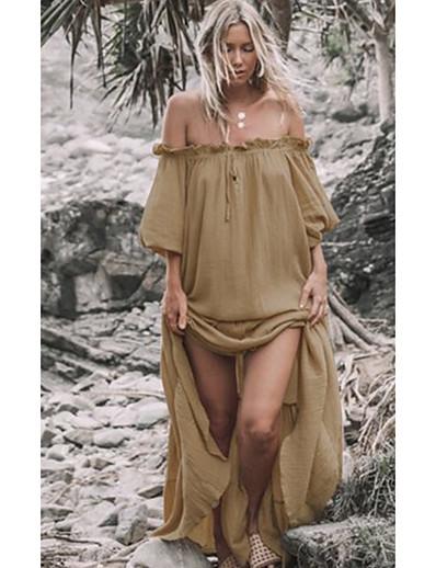 cheap Maxi Dresses-Women's Maxi Swing Dress - Solid Colored Off Shoulder Khaki One-Size