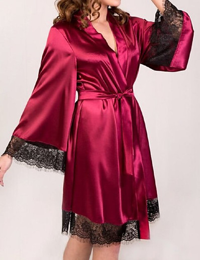 cheap Pajamas-Women's Lace Robes Nightwear Solid Colored Black Wine White S M L/StayCation