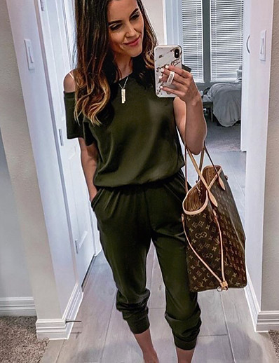 cheap Jumpsuits & Rompers-Women's Basic Black Wine Army Green Jumpsuit Solid Colored / Pencil
