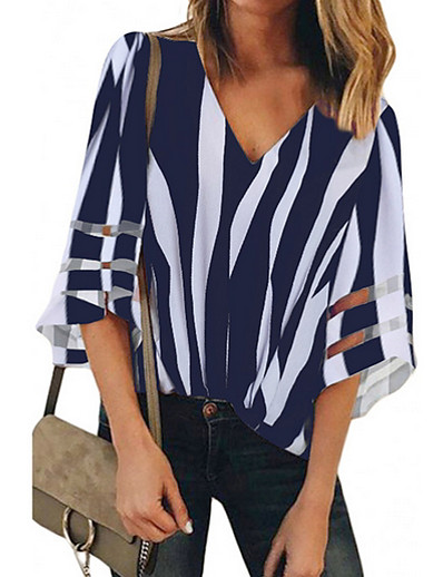cheap Blouses & Shirts-Women's Daily Shirt - Striped Black