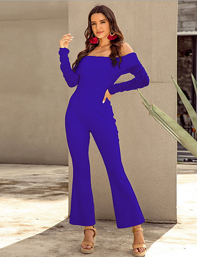 cheap Jumpsuits & Rompers-Women's Basic Off Shoulder White Black Royal Blue Slim Jumpsuit Solid Colored