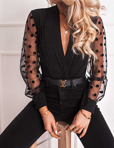cheap Blouses & Shirts-Women's Polka Dot Slim Blouse Daily Weekend V Neck Black