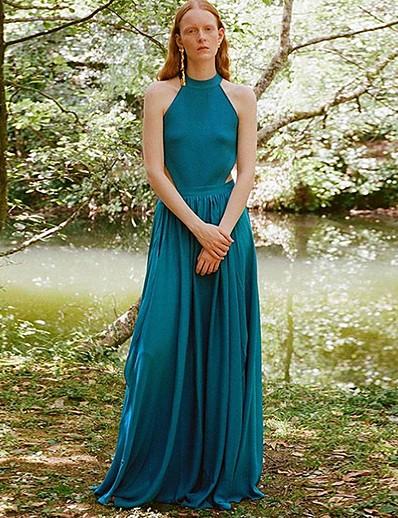 abordables Robes élégantes-Femme Maxi Balançoire Robe Couleur unie Bleu S M L Sans Manches