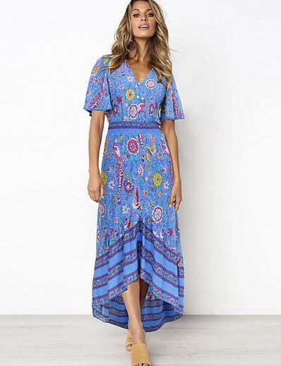 cheap Summer Dresses & Boho-Women's Maxi Shift Dress - Short Sleeve Geometric V Neck Red Royal Blue Navy Blue S M L XL