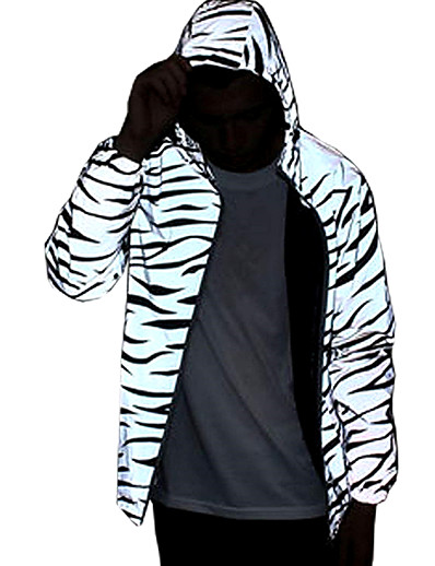 cheap Running, Jogging & Walking-Men's Long Sleeve Running Track Jacket Reflective Jacket Hoodie Jacket Full Zip Outerwear Jacket Hoodie High Visibility Reflective Windproof Fitness Running Jogging Sportswear Floral Black with White