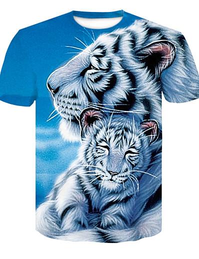 cheap Tees & T Shirts-Women's Daily Basic T-shirt - 3D / Animal Tiger Blue