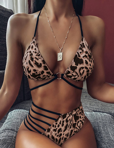 cheap Animal print-Women's Bikini Swimwear Swimsuit - Leopard S M L Fuchsia Khaki Light Green