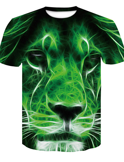 cheap TOPS-Women's Daily Basic T-shirt - 3D / Animal Lion Green