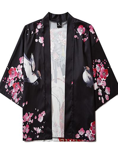cheap Kimono Cardigans-Men's Daily Kimonos Shirt - Floral / Portrait Print V Neck Black