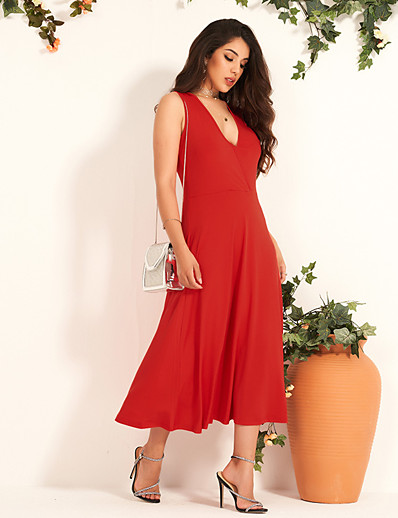 cheap 05/20/2020-Women's Maxi Red Dress Sexy Sophisticated Party Daily A Line Solid Color Deep V S M Slim