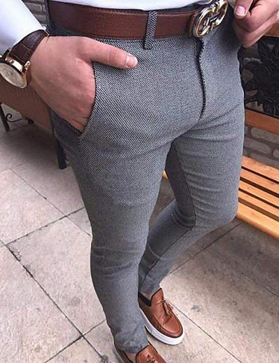 preiswerte Herrenhosen & -shorts-Herren Basic Chinos Hosen Hose einfarbig in voller Länge schwarz hellgrau dunkelgrau braun