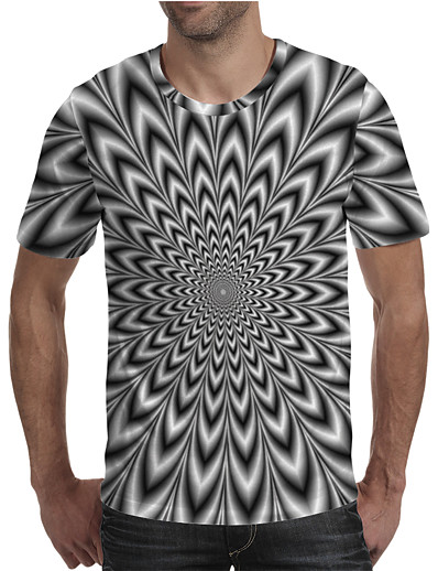 cheap Men's 3D-Men's T shirt Shirt Graphic Geometric 3D Plus Size Pleated Print Short Sleeve Daily Tops Streetwear Exaggerated Round Neck Rainbow