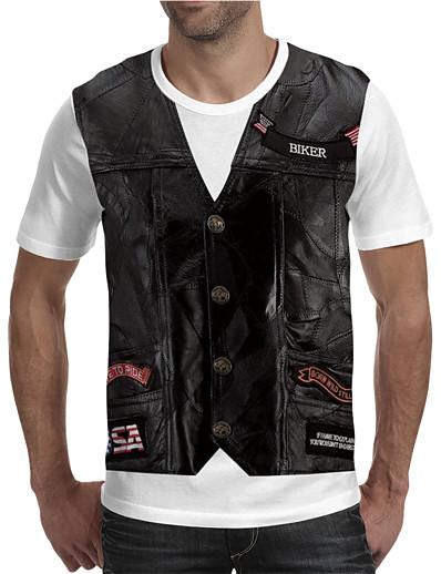 cheap Men's 3D-Men's T shirt Color Block Geometric 3D Plus Size Print Short Sleeve Holiday Tops Streetwear Exaggerated Rainbow