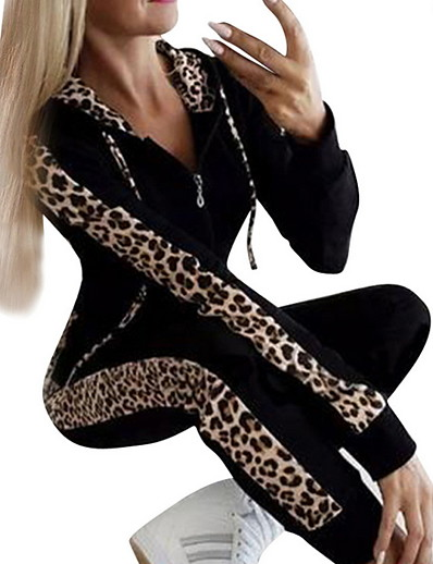 cheap Two Piece Set-Women's Leopard Cheetah Print Indoor Two Piece Set Pant Zipper Front Zip Tops