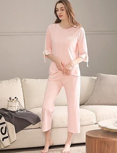 cheap Pajamas-Women's Suits Nightwear Blushing Pink Light Green XL