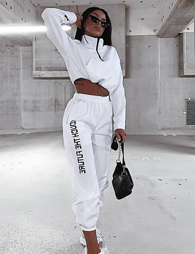 cheap Running, Jogging & Walking-Women's 2 Piece Cropped Tracksuit Sweatsuit Street Casual Winter Long Sleeve High Neck Breathable Soft Fitness Running Jogging Sportswear White Activewear Micro-elastic / Athleisure / Quarter Zip