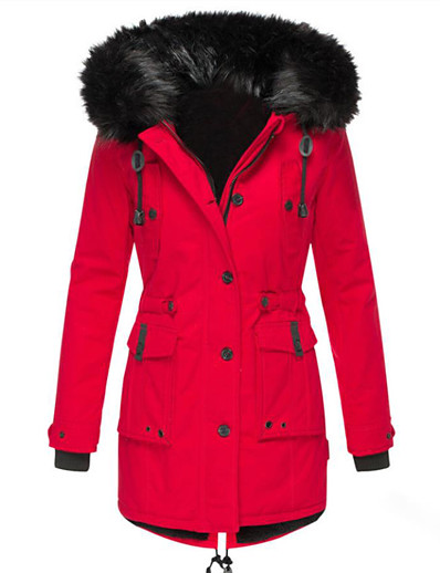 cheap Down& Parkas-Women's Padded Parka Solid Colored Polyester Black / Red S / M / L