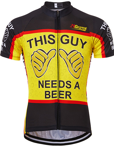 cheap Cycling-21Grams Men's Short Sleeve Cycling Jersey Black / Red Black / Yellow Red+Blue Retro Novelty Oktoberfest Beer Bike Jersey Top Mountain Bike MTB Road Bike Cycling Breathable Quick Dry Anatomic Design