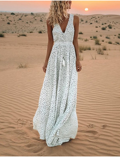 cheap Dresses-Women's Swing Dress Maxi long Dress White Blue Blushing Pink Beige Sleeveless Polka Dot Polka Dots Spring Summer V Neck Hot Casual Holiday 2021 S M L XL XXL 3XL