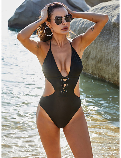 cheap Swimwear-Women's One-piece Swimsuit Solid Colored Swimwear Bathing Suits Black