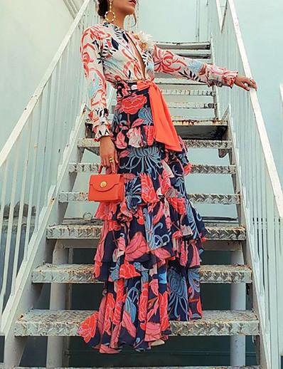cheap Summer Dresses & Boho-Women's Maxi A Line Dress - Long Sleeve Floral Print Ruffle Spring & Summer Deep V Holiday Vacation Orange S M L XL XXL