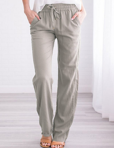 cheap Women's Pants-Women's Basic Chinos Pants Solid Colored Black Blue Wine Khaki Light gray