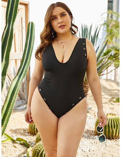 cheap Plus Size Swimwear-Women's Sporty One-piece Rash Guard Swimwear Swimsuit - Solid Colored XL 2XL 3XL Black